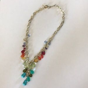 Colorful silver necklace with turquoise pieces